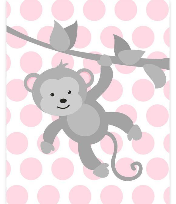 Monkey Nursery Art, Baby Girl Zoo Art, Zoo Nursery Decor, Grey and Pink, Zoo Wall Art, Baby Zoo Decor, Gender Neutral, Monkey Canvas Print by SweetPeaNurseryArt on Etsy