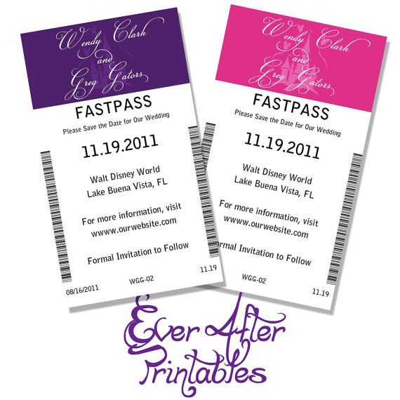 Disney Wedding Fast Pass Save the Dates by EverAfterPrintables, $10.00