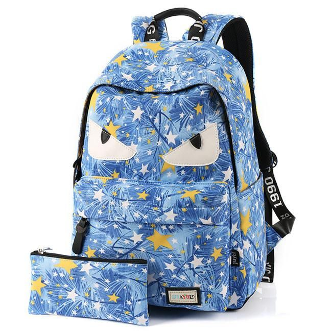 Cartoon Star Printing Little Monster School Bag Graffiti Canvas Backpa – lilyby