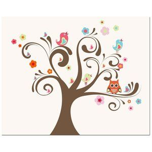 Secretly Designed Owl and Bird Tree Art Print