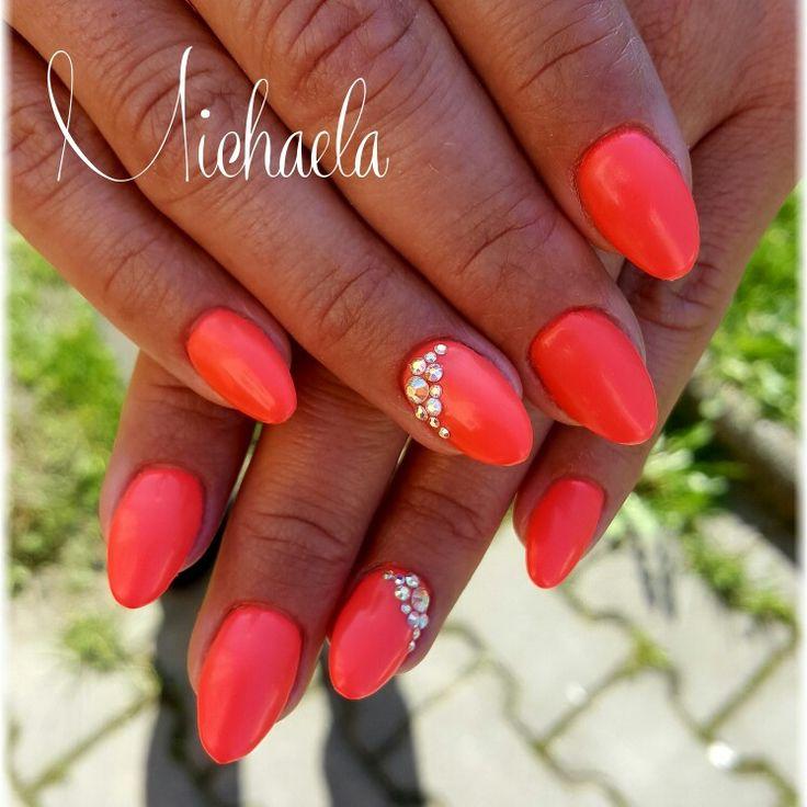 Neon summer nails, Swarovski nails