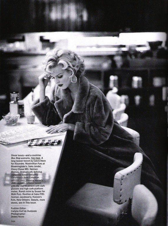 "The Terrier and Lobster: ""Star Quality"": Eva Herzigova as Marilyn Monroe by Dewey Nicks for US Vogue"