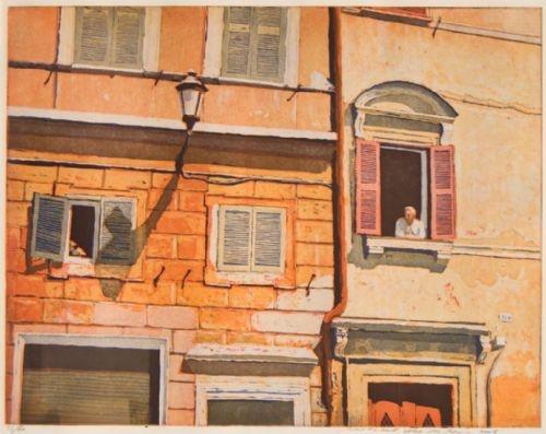 Hier verlangen wij nu naar in deze sombere dagen.... Marcel Schellekens - Transere, Rome - ets