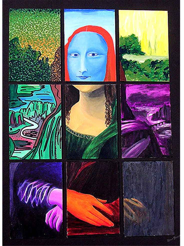 Mona Lisa- maybe do this w/photo class? Take a famous painting and split it up into squares and do different filters?
