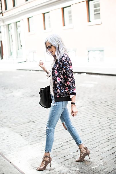 I love floral so much I might marry it, and this bomber jacket …