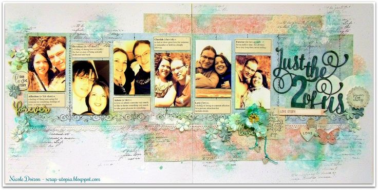 Double page layout created with the Scraps of Elegance 'Be Mine' kit and inspired by the February challenge at Words & Paintery. View details at http://scrap-utopia.blogspot.ca/2017/02/just-2-of-us-scraps-of-elegance-dt-be.html #scraputopia #scrapbooking #scrapsofelegancekits #soe #words&paintery