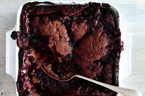 Chocolate & blueberry pudding cake