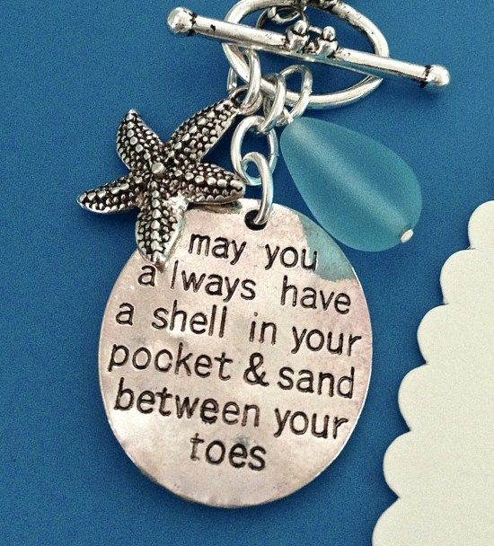 Beach Jewelry with beach quotes and sayings! For more - http://beachblissliving.com/hand-stamped-beach-quote-necklace/