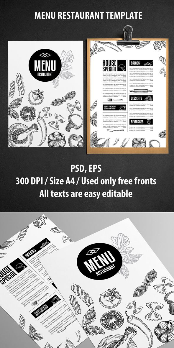 Cool Restaurant Menu Design Idea : LOVE IT! _ _ _ Menu Restaurant Template PSD (Inspiration for Graphic Designers...)