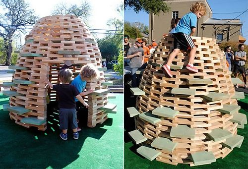 Instructions to build a beehive playhouse - I definitely want to give this a shot.  Summer project!