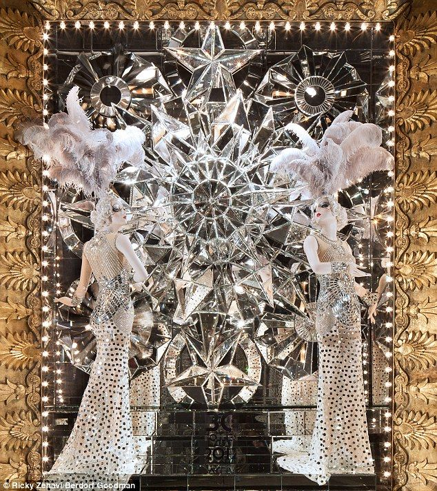 Christmas windows in NY. Time travel: Berdorf Goodman's windows were inspired by entertainments such as the Ziegfeld Follies, Vaudeville revues and Busby Berkeley's Hollywood musicals of the 1930s
