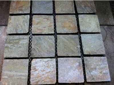 Golden Quartz Cobblestones on mesh sheets. New Product!