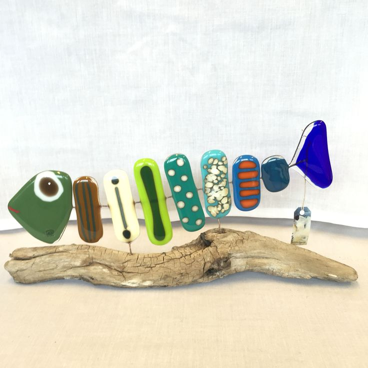 Big Fused glass fish mounted on driftwood