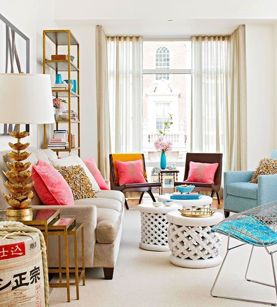 Fun Chic Girly Living Room With Brass Lotus Lamp White Stone Coffee Table