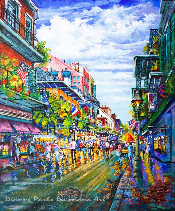 Royal Street, Colorful And Lively French Quarter New Orleans Street Scene,  Expressionism Impressionism Art Of New Orleans   U0027Rue Royaleu0027