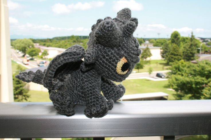 Free Crochet Pattern For Toothless The Dragon : Gunner the Night Fury. Super cute crocheted grey version ...
