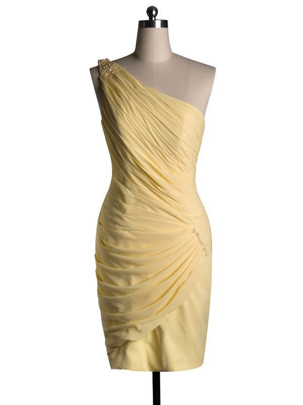 2015 Sleeveless Yellow Ruched Chiffon One Shoulder Short Length Sheath Homecoming / Cocktail / Formal Dresses TBQP104