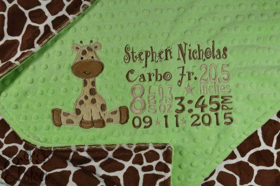 Giraffe Blanket Personalized Giraffe Blanket by LittleElska