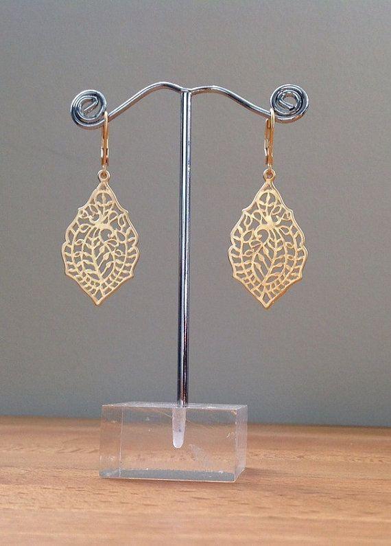 Matte gold leaf filigree earrings by PetalJewels on Etsy