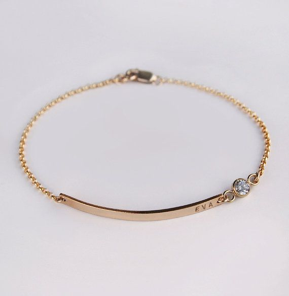 Nameplate bracelet - Diamond CZ bracelet - 14k gold filled personalized bracelet - Luca - Bridesmaids favor