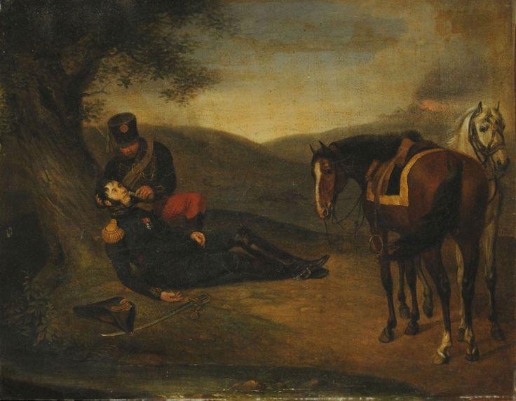 General herido Autor: Adam, Albrecht Fecha: 1802-1809 técnica: Oleo  Objeto: Pintura Estilo: Romanticismo Medidas: 34 x 44,5 cm
