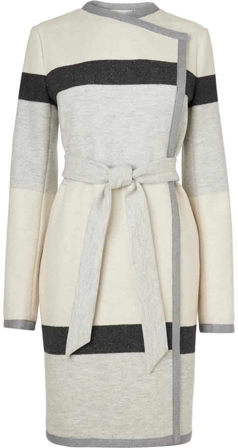 LK Bennett Halle Stripe Belted Coat