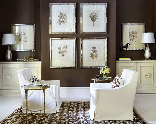 Winter white looks good with chocolate brown walls