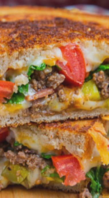Bacon Double Cheeseburger Grilled Cheese Sandwich::