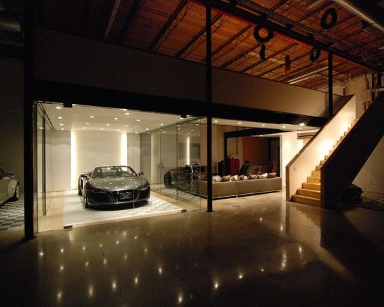 Amazing car showroom design with living room awesome for Garage designs with living space