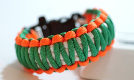 Green and Orange Survival Bracelet with by CampusSurvivalGear