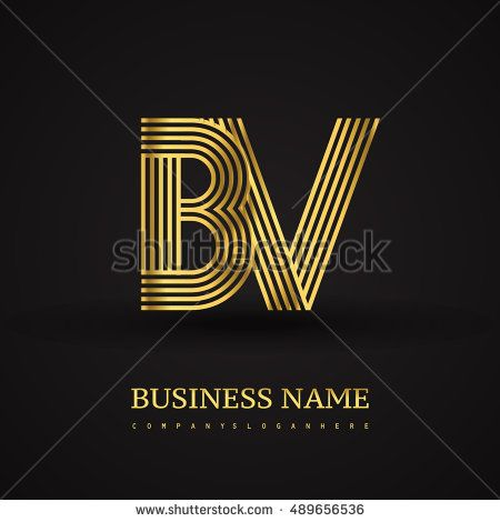 Elegant Initial logo BV letter gold colored. Vector design template elements for company identity.
