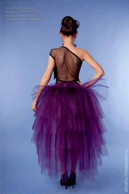 Юбки ручной работы. Ярмарка Мастеров - ручная работа Юбка - пачка со шлейфом фиолетовая из фатина для взрослых. Handmade.