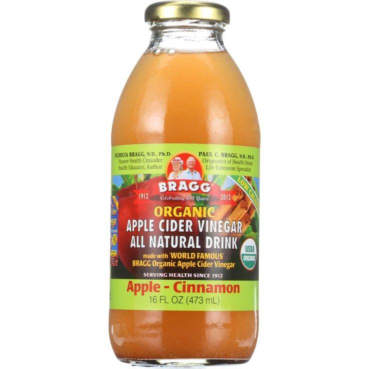 Bragg Apple Cider Vinegar Drink - Organic - Apple-cinnamon - 16 Oz - Case Of 12