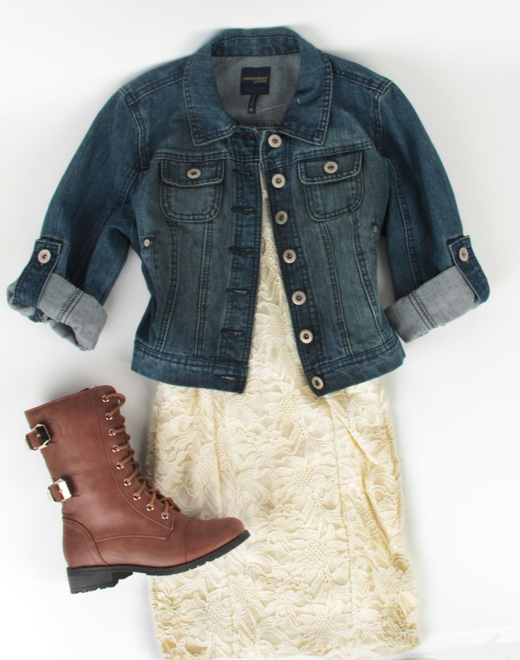 Deb Shops lace dress with denim jacket and combat boots