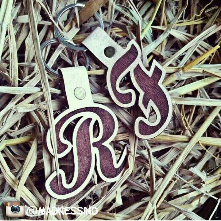 Initial name on Leather Keychain