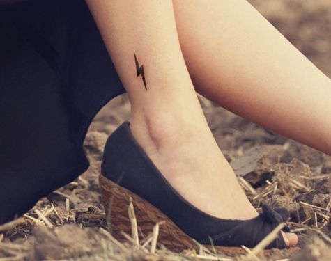 Harry Potter lightning bolt tattoo on ankle