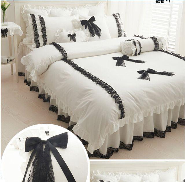 Commercio all'ingrosso nero di pizzo bianco biancheria da letto coreano Re Regina set copripiumino 200*230 cm gonna letto copripiumino e federa