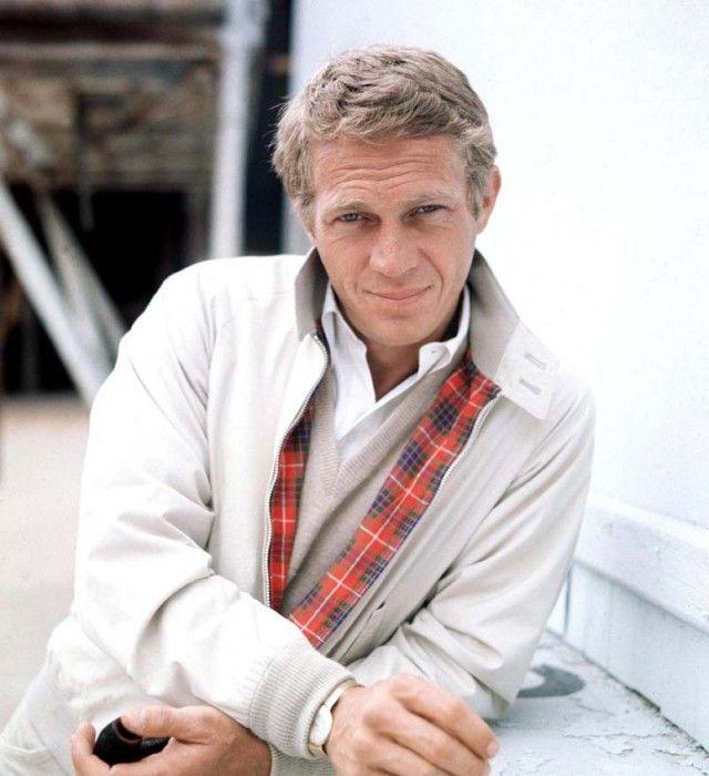 Steve McQueen in Barracuta Harrington style jacket w/ tartan lining