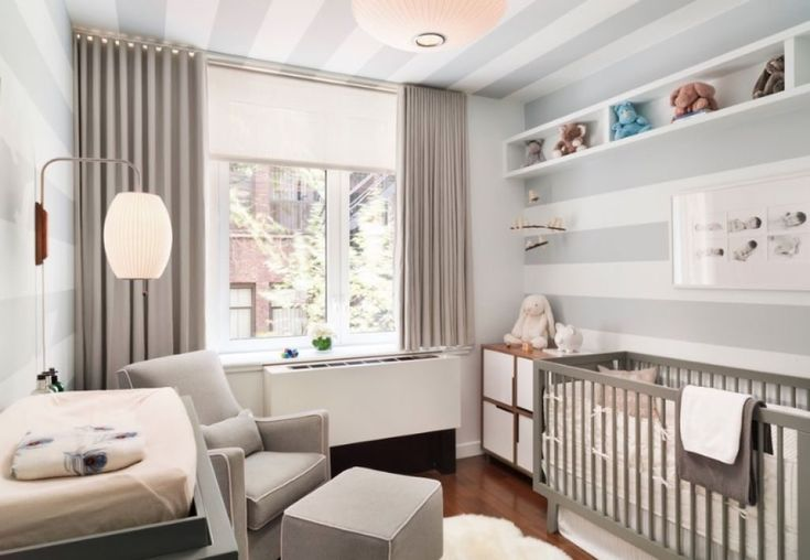 Nursery Room With Stripes Walls And Grey Crib : Cleaning Ways For Baby Crib Mattress