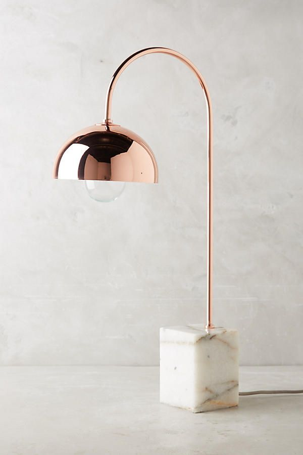Marble and rose gold table lamp