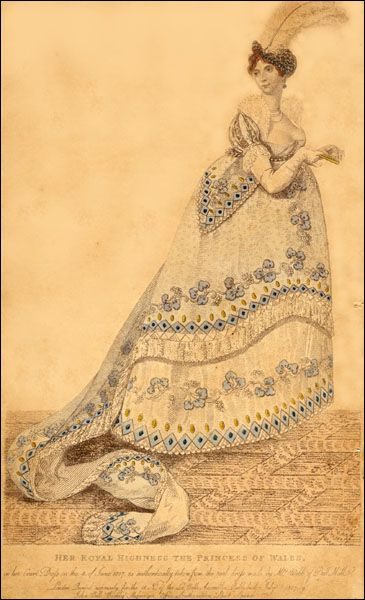 1807 Princess Charlotte A collection of late-Georgian and Regency-era fashion plates depicting court dress, exhibiting the fantastic hoops mandated by Queen Charlotte and worn until her death in 1818