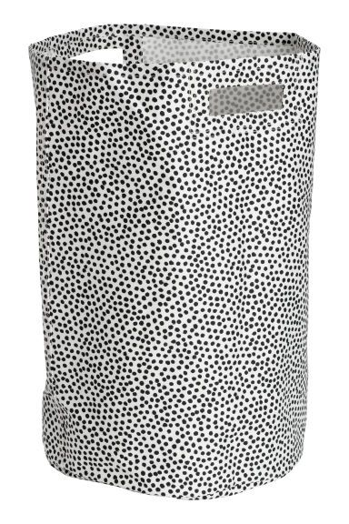 Spotted laundry basket - Natural white/Black spotted - Home All | H&M GB 1