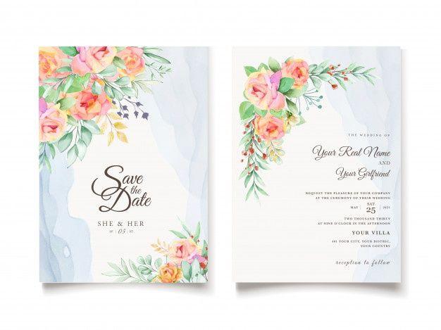 Download Watercolor Floral Wedding Invitation Card Design For Free Floral Wedding Invitation Card Watercolor Floral Wedding Invitations Wedding Invitation Cards