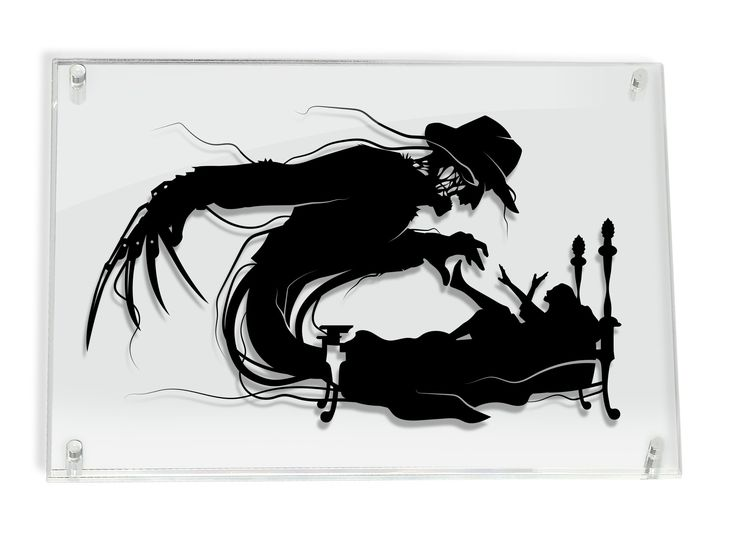 """Freddy Krueger Nightmare on Elm Street silhouette - hand cut paper art. Freddy Krueger Nightmare on Elm Street silhouette handcut paper craft from one black sheet SIZE: 14""""x20"""" --------- Options: ***FRAMED (ready to hang) - The paper cut comes already secured in-between two 14""""x20"""" acrylic panels. These are custom made and creates a frameless, unique, beautiful, classy and contemporary look. (see the listing pictures) UNFRAMED - the papercut ONLY - will come in flat, stiff no-bend mailer..."""