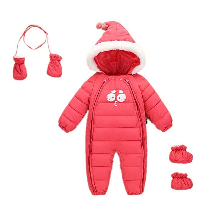 d56e3c8f1c2f Toddler Winter Romper Jumpsuit Onesies Baby Girls Hoodie Down Cotton ...