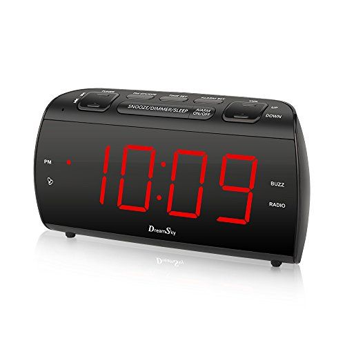 "DreamSky Alarm Clock Radio With FM Radio And USB Port For Phone Charger , 1.8 "" Large LED Digit Display With Dimmer , Snooze , Sleep Timer , Earphone Jack, DC Powered And Battery Backup .  Large Display Clock Radio : Extra large screen with 1.8"" red led digit display , time is clearly to see at a glance. Adjustable dimmer enable you to set the brightness of high or low with one button touch. Perfect for the elderly or the visually restricted.  Digital FM Radio: Easy tuning in FM radio ..."