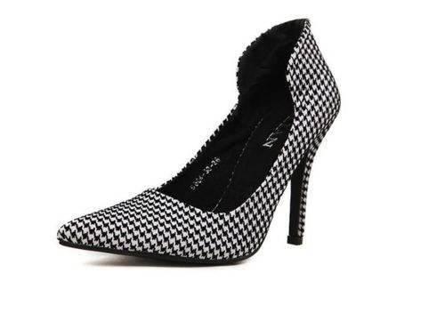 Sexy Shoes Houndstooth and Pointed Toe Shoes for Women Black & White High Heels