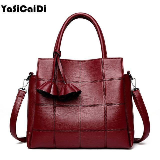 Sale Price $20.99, Buy YASICAIDI Fashion Pu Leather Women Shoulder Bags Famous Designer Vintage Tassel Large Women Messenger Bags Ladies Tote Bags Sac