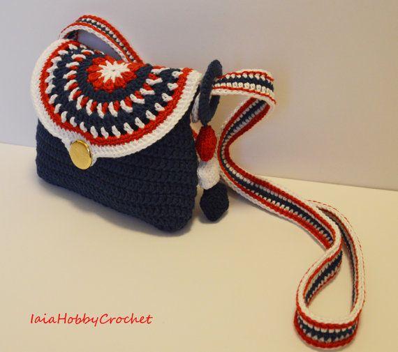 Poco niña Crochet monedero del bolso, bolsa, de ganchillo, Crochet monedero, azul rojo blanco tono Crochet monedero, regalo niña - hecho a la orden