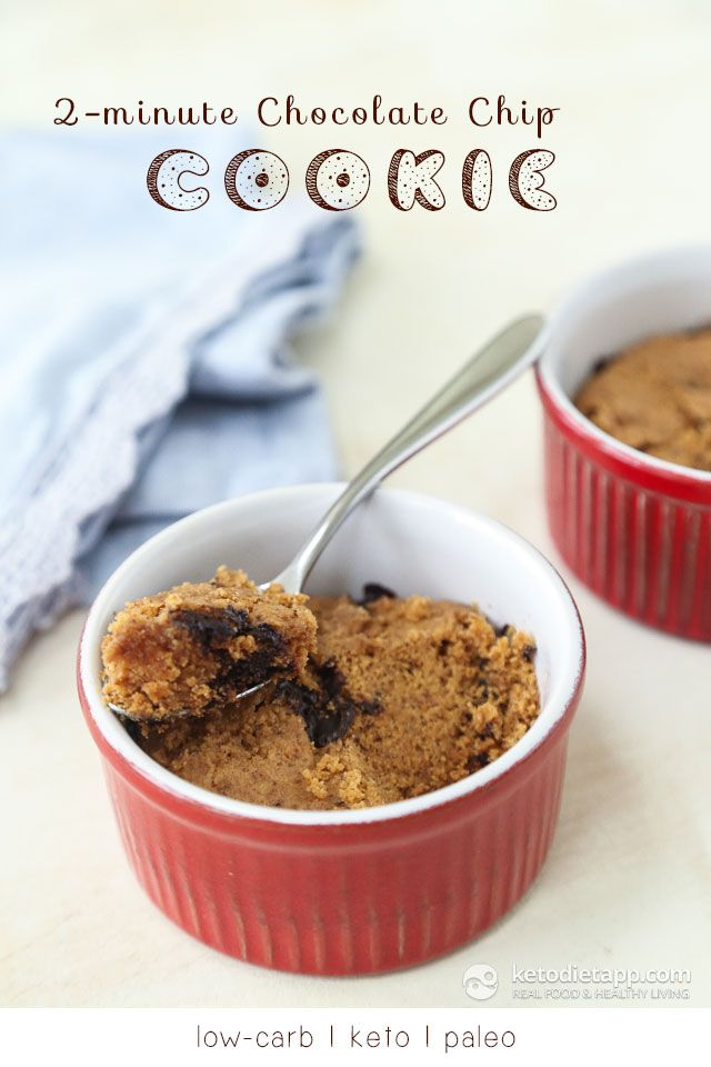 2-Minute Keto Chocolate Chip Cookie - only 5 ingredients (low-carb, keto, paleo)